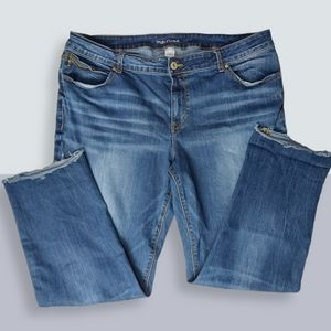 Maurice's Straight Leg Distressed Frayed Jeans 22